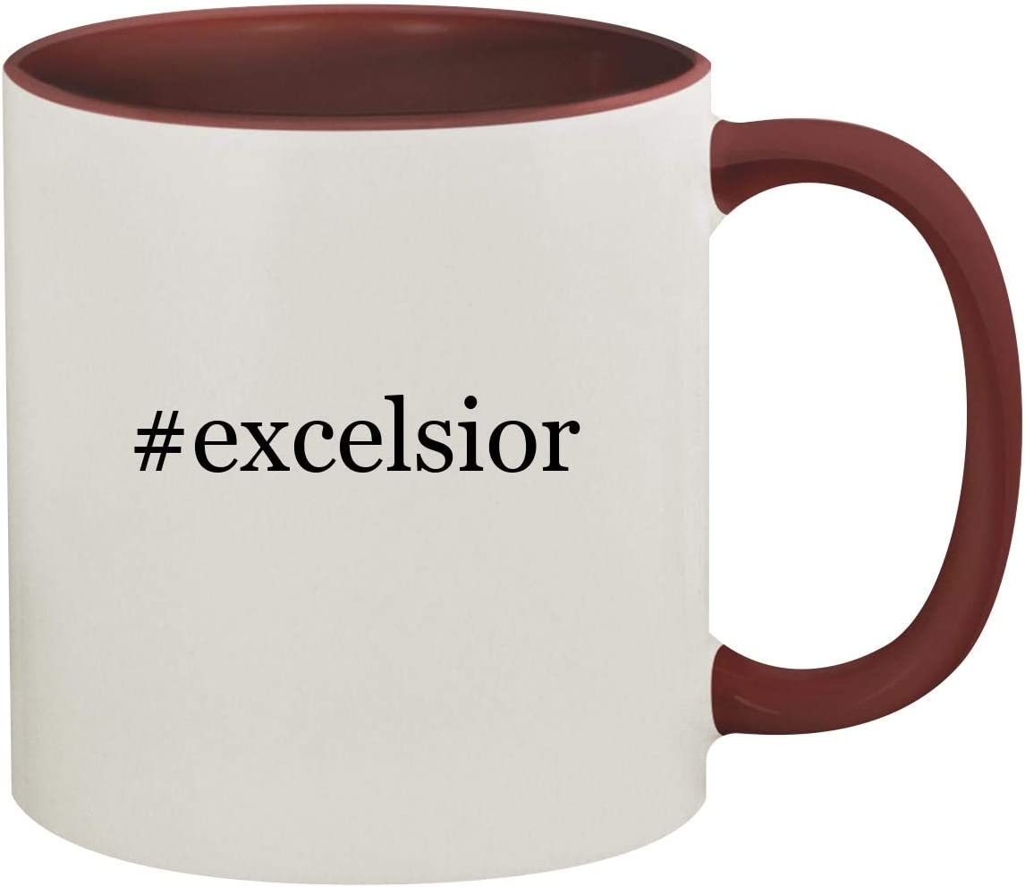 #excelsior - 11oz Hashtag Ceramic Colored Inside & Handle Coffee Mug, Maroon