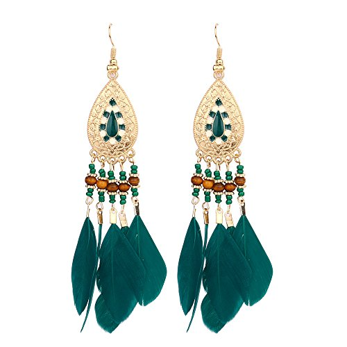 Gbell Bohemian Feather Beads Tassel Earrings for Women,Crystal Rhinestone Fringe Ear Stud Fashion Earrings Chain for Ladies Girls Party Date Ball Wearing Jewelry Statement Gift for $<!--$1.78-->