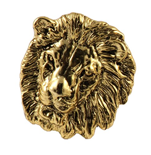 Creative Pewter Designs Lion Head Mammal 22k Gold Plated Lapel Pin, Brooch, Jewelry, MG102