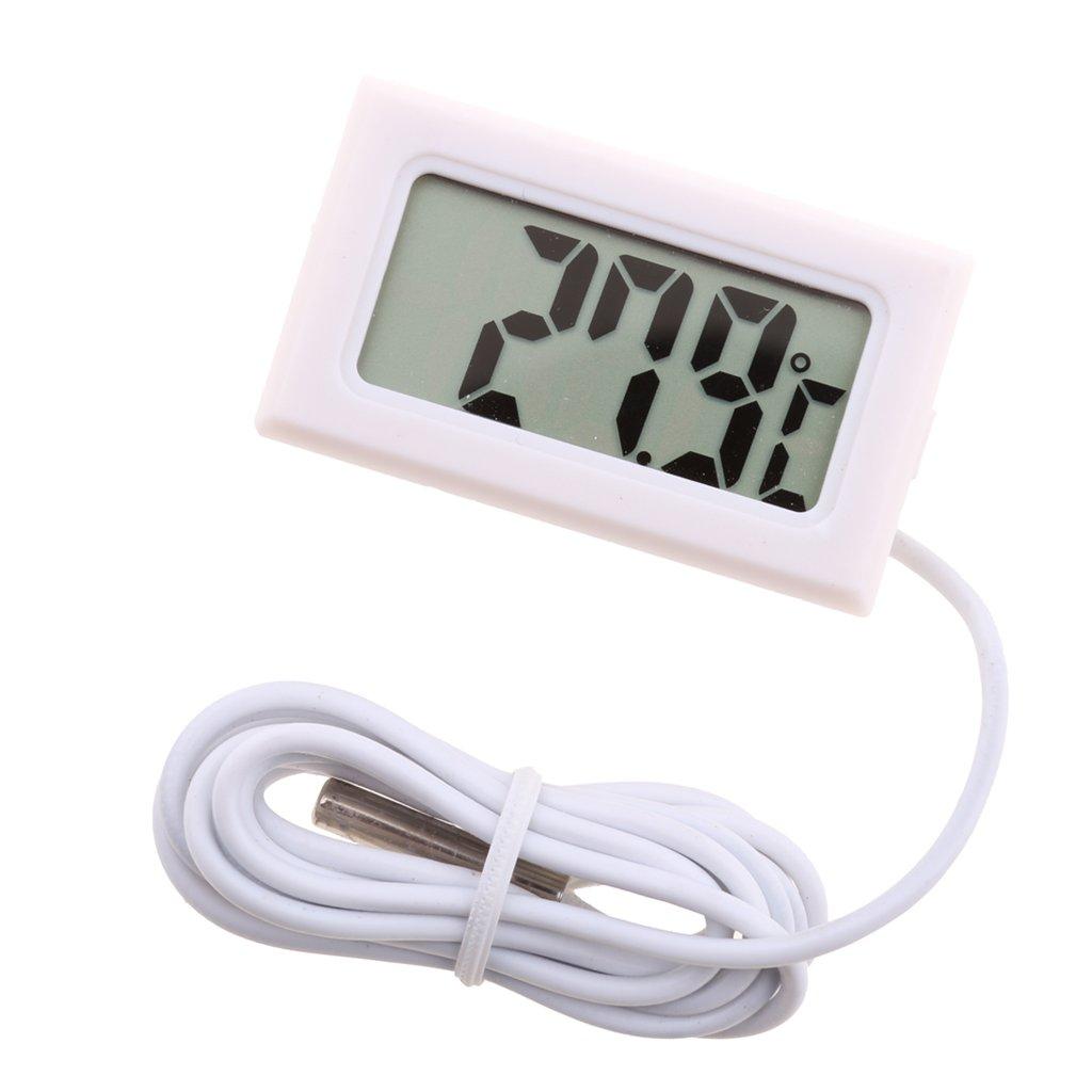 Baoblaze Digital LCD Aquarium Thermometer Fish Tank Water Terrarium Temperature with Waterproof Probe - Choice of Color - White