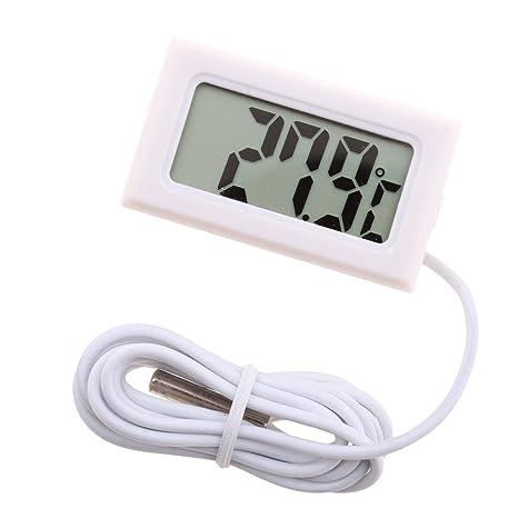 Sharplace Termómetro Electrónico Digital de LCD Acuario Termómetro de Agua Hidrotermógrafo Herramientas - Blanco