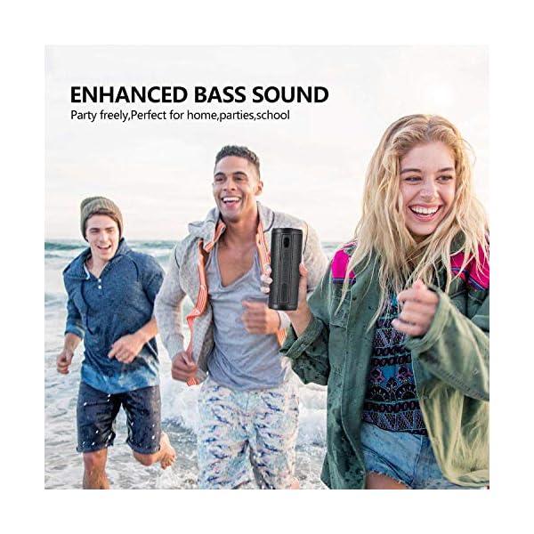 Hieha Enceinte Bluetooth Portable,Waterproof Haut-Parleur Bluetooth 4.2,Enceinte d'éxterieur sans Fil, 360°HD Bass Pilote Double,Mains Libres,Technologie TWS,Étanche IP67 7