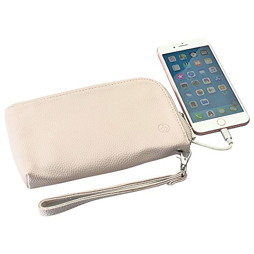 Wristlet Handbags Charger Build-in 2200mAh Power Bank Clutch Large Space as Wallet for Cellphone,Key,Money,Lipstick,Charging Cable for Travel Leisure(Beige) Custom Designed Clutch Handbag