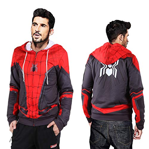 (Halloween 2019 New far from Home New Spiderman Cosplay Costumes Hoodie (Kids-XL Red)