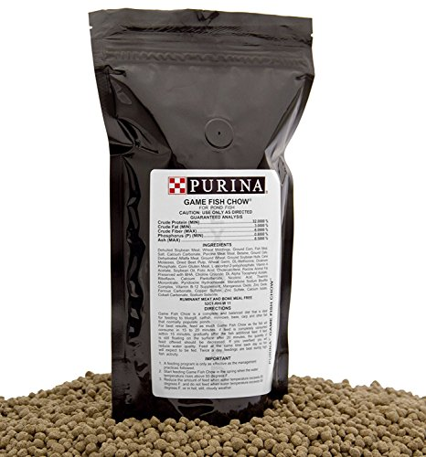 Purina Mills Game Fish Chow, A 32% Protein, Extruded Multi-Particle Size Floating Diet For Bass, Bluegill, Catfish, Minnows, Carp, And Other Fish That Normally Populate Ponds, 1 lb.