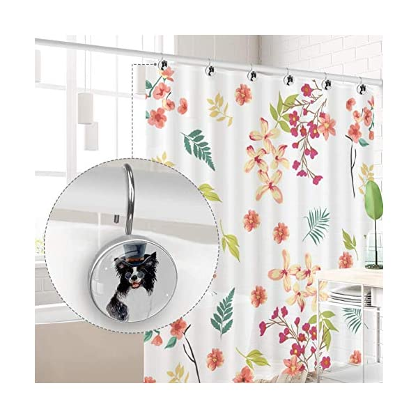 Shiiny Watercolor Border Collie Art Decorative Shower Curtain Rings Stainless Steel Rust-Resistant Shower Hooks Ring for Bathroom Shower Rods Curtain and Liner, 12 PCS 4