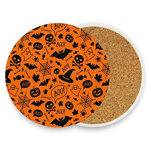 Orange Pumpkins Skull Spider Web Coasters, Prevent Furniture From Dirty And Scratched, Round Cork Coasters Set Suitable For Kinds Of Mugs And Cups, Living Room Decorations Gift 1 Piece -