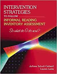 Intervention strategies to follow informal reading inventory