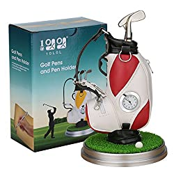 10L0L Mini desktop golf bag pen holder with golf pens clock 6-piece set of golf souvenir Tour souvenir novelty gift (red and white)