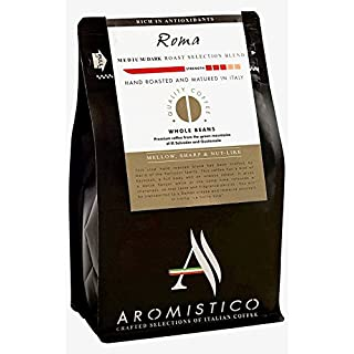 Aromistico | Italian Medium Dark Roast Whole Bean Gourmet Coffee Blend, Finest Smooth Aroma | ROMA BLEND, DARK, MELLOW, SHARP & NUT-Like | For Pour Over Drip, Chemex, Espresso, Moka, Cafetiere