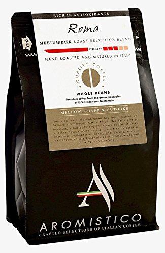 (Aromistico | Italian Medium Dark Roast Whole Bean Gourmet Coffee Blend, Finest Smooth Aroma | ROMA BLEND, DARK, MELLOW, SHARP & NUT-Like | For Pour Over Drip, Chemex, Espresso, Moka, Cafetiere)