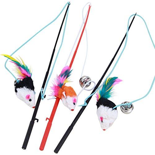 Giveme5 3pcs Funny Pet Feather False Mouse with Plastic Stick