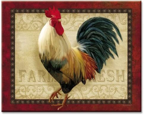 Amazon Com Counterart Farm Fresh Rooster Tempered Glass Counter Saver 15 X 12 Kitchen Dining