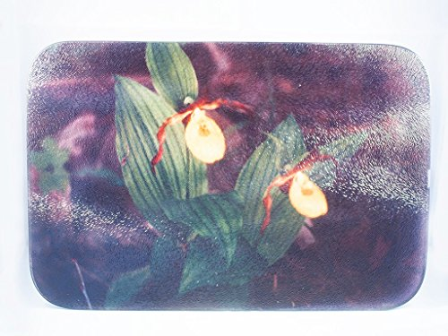 Cutting Board, Glass, Yellow Ladyslipper Orchids Design, Photograph (Orchid Photograph)