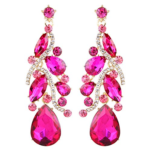 BriLove Women's Bohemian Boho Dangle Earrings with Crystal Multi Teardrop Filigree Cluster Chandelier Fuchsia Gold-Toned