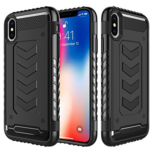 Price comparison product image iPhone X Case, iPhone 10 Case, Grealthy Hybrid Soft Inner TPU Hard PC Back Cover Military Grade Extreme Drop Tested Heavy Duty Protective Cover [Shock Reduction] Dual Layer Case - Black