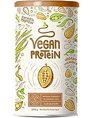 Vegan Protein   SCHOKOLADE   Pflanzliches Proteinpulver mit Reis-, Soja-, Erbsen-, Chia-, Sonnenblumen- und Kürbiskernprotein   600 Gramm Pulver