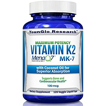 Vitamin K2 MK7 - MenaQ7 and Organic Coconut Oil for Superior Absorption - 120 Soy-Free Non-GMO Vegetarian Liquid Caps 100 mcg. (1 Pack)