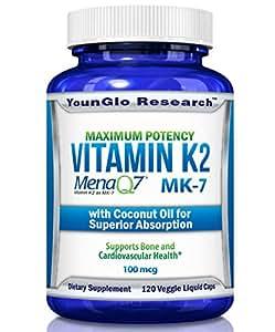 Vitamin K2 MK7 - MenaQ7 and Organic Coconut Oil for Superior Absorption - 120 Soy-Free Non-GMO Vegetarian Liquid Caps 100 mcg. (1 Pack)