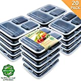 Enther [20 Pack] Single 3 Compartment Meal Prep Containers with Lids, Food Storage Bento Boxes, BPA Free, Reusable Lunch Box, Microwave/Dishwasher/Freezer Safe, Portion Control, New Version, 28oz