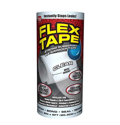 Flex Tape Rubberized Waterproof Tape, 8 inches x 5 feet, Clear