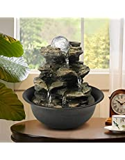 BBabe Spinning Orb Rock Cascading Tabletop Fountain, Zen Meditation Indoor Waterfall Feature with LED Light for Home Office Bedroom Relaxation