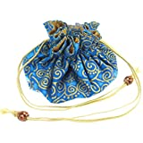 Handmade Drawstring Jewelry Pouch, 8 Pockets, Cotton & Raw Thai Silk Fabric, Turquoise Blue