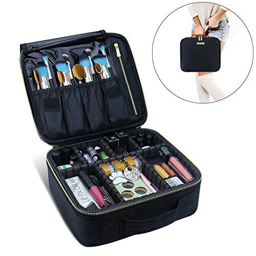 Travel Makeup Case MLMSY Makeup Cosmetic Case Cosmetics Organizer Makeup Bag ,DIY Adjustable & Removable Divider Makeup Train Case for Cosmetics Accessories, Tools Organizer Portable Suitcase Black (Diy Shadow Box Ideas)