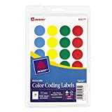 Avery Assorted Colors (Blue, Green, Red, Yellow) Removable Print or Write Color Coding Labels, 3/4'' Round, 1008 Labels per Pack, Case Pack of 18 (5472)