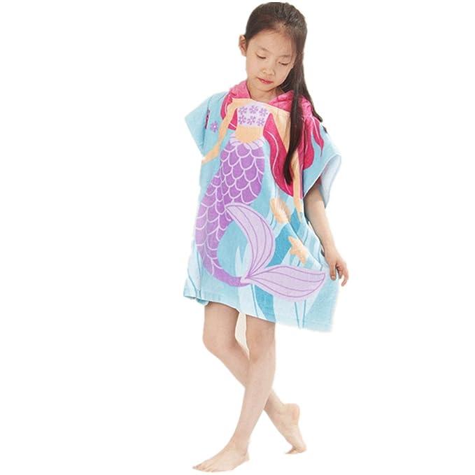 Amazon.com: kids Beach Towel Hooded Poncho boys Girls Bath Blanket 100% Cotton Bathrobe: Clothing