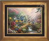 Disney Mickey and Minnie Sweetheart Bridge - Thomas Kinkade 18'' x 24'' Standard Number (S/N) Limited Edition Canvas (Aurora Gold)