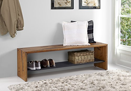 WE Furniture Reclaimed Wood Entry Bench in Amber - 58