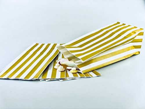 100 x Pick n Mix Candy Stripe Paper Sweet / Party / Popcorn Bags 4″ x 9.5″ x 3″ -100% Recyclable & Biodegradable (GOLD)