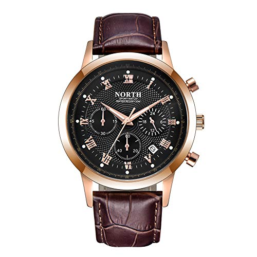 NORTH Men Luxury Watches, Mens Chronograph Sport Wrist Watch, Water Resistant Date Leather Watch for Men (6009-6PBG) ()