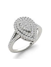 IGI Certified 14k Gold 1/2 Ct TDW Diamond Cluster Pear-Shaped Engagement Ring (I-J, I2)