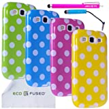 Samsung Galaxy S3 Case Bundle including 4 Polka Dot Covers for Samsung Galaxy S3 / 2 Stylus Pens / 2 Screen Protectors / 1 ECO-FUSED Microfiber Cleaning Cloth (Green, Blue, Purple, Yellow)