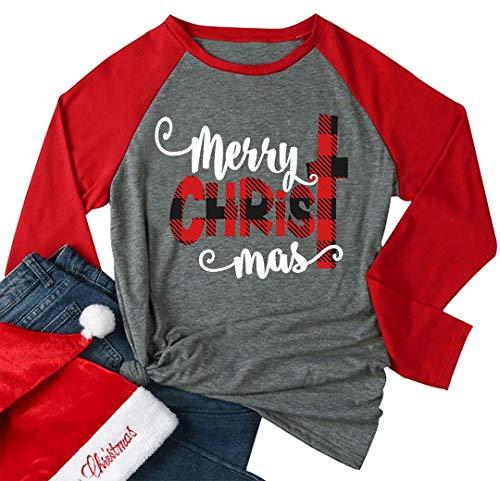 (Merry Christmas Baseball T-Shirt Casual Women Top Full Long Sleeve Baseball Tees Size US L(Tag XL))