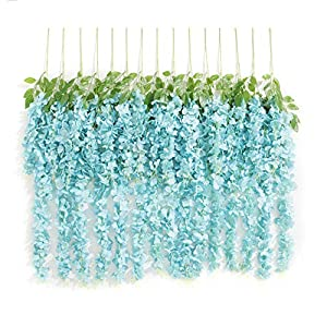 Huata 10PCS 3.2 Feet Artificial Flower Silk Wisteria Vine Ratta Hanging Wedding Decor Garlands 99