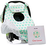 Reversible Carseat Canopy | All Season Car Seat Covers | Premium 100% Cotton | Mint Arrows | Nursing Cover | Universal Fit | Baby Gifts Boy or Girl - Patent Pending
