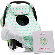 Reversible Carseat Canopy   All Season Car Seat Covers Gift Set   Premium 100% Cotton   Mint Arrows   Nursing Cover   Universal Fit   Baby Gifts Boy or Girl - Patent Pending