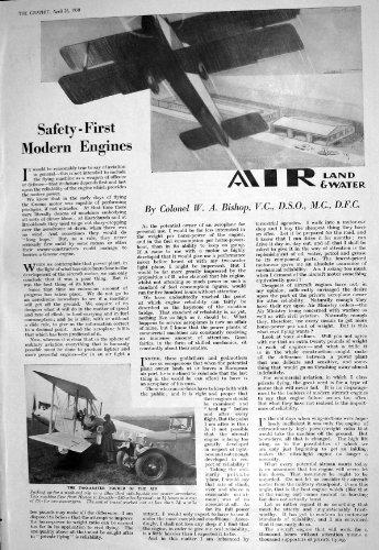 old-print 1930 Two-Seater Blue Bird Aeroplane Walter Hagen Hurlingham Motor 197M228