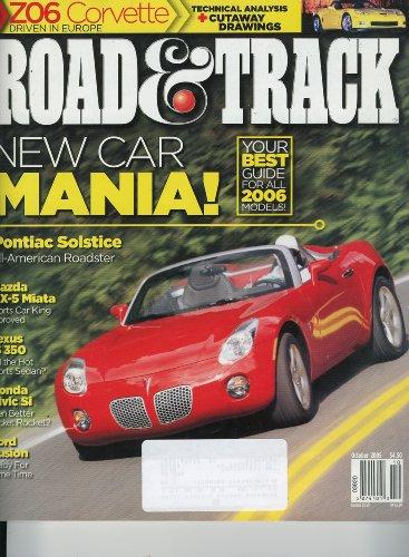 Road & Track Magazine, October 2005 - Corvette ZO6, New Car Mania 2006, Pontiac Soltice, Miata, Lexus IS 350, Civic Si, Ford Fusion