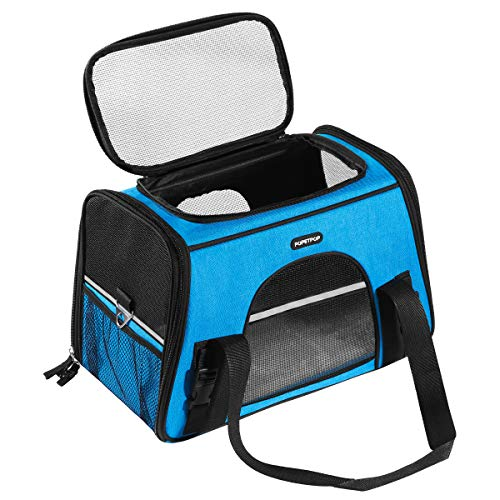POPETPOP [Upgrade] Pet Travel Carrier Breathable Soft-Sided Carrier Bag with Seat Pad for Dogs and Cats (Blue)