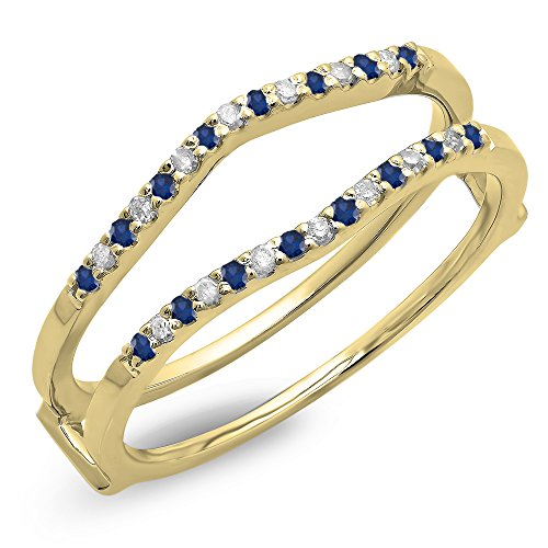 Dazzlingrock Collection 14K Round Blue Sapphire Ladies Anniversary Wedding Enhancer Guard Double Ring, Yellow Gold, Size 7.5
