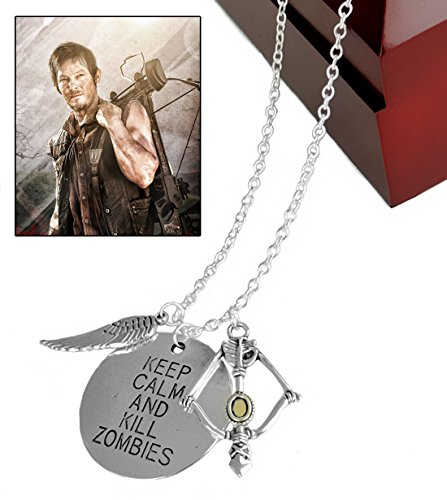 Walking Dead Daryl Crossbow Wing Pendant Necklace