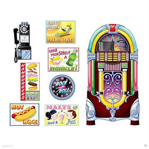 - 1950s Sock Hop Grease Party Decoration SODA SHOP Diner SIGNS & JUKEBOX PROPS