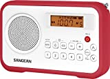 Sangean AM/FM/Clock Portable Digital Radio with Protective Bumper PR-D18RD (White/Red) (Certified Refurbished)