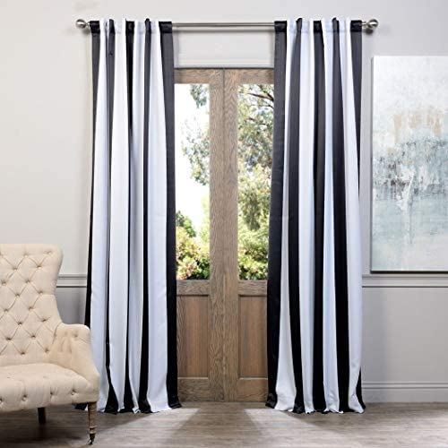 DH 2 Piece 96 Inch Bold Black White Rugby Stripes Curtains Pair Panel Set