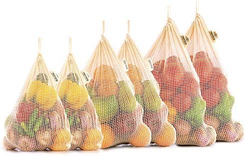 bolsa de red lavable ecol/ógicas para colgar etc juguetes bolsa de compras para frutas Bolsas de malla reutilizables verde. cebollas bolsas de verduras 2 unidades patatas