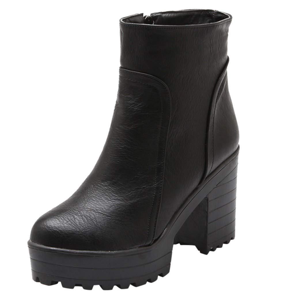 Cenglings Women High Chunky Heel Boots, Round Toe Waterproof Warm Zipper Slip On Ankle Boots Winter Women Pumps Black